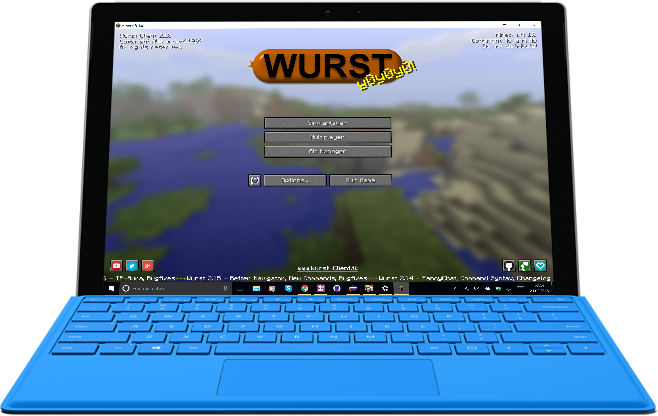 Using the Wurst Client on a Surface Pro 4.