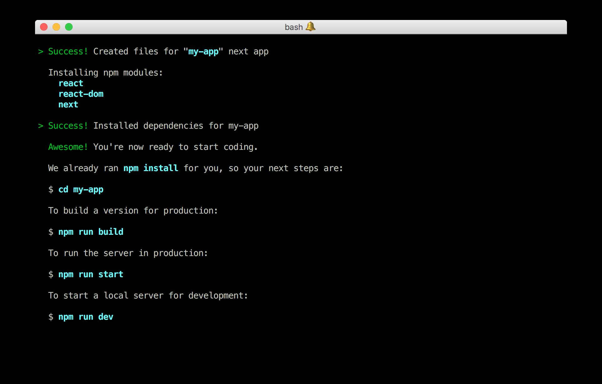 Create Next App running in terminal