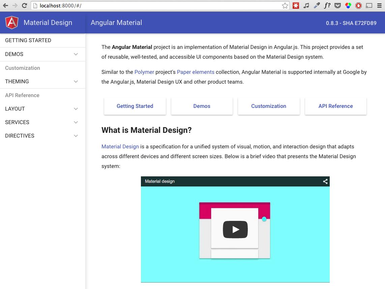 Angular Material docs website