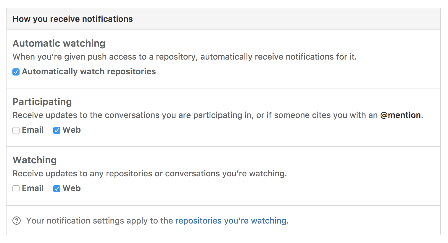 Notifications settings screen