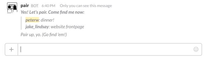 Slack-Pair example screenshot