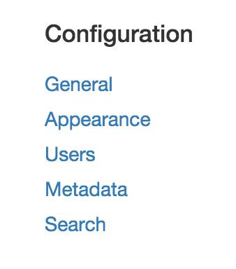 Configuration main menu options