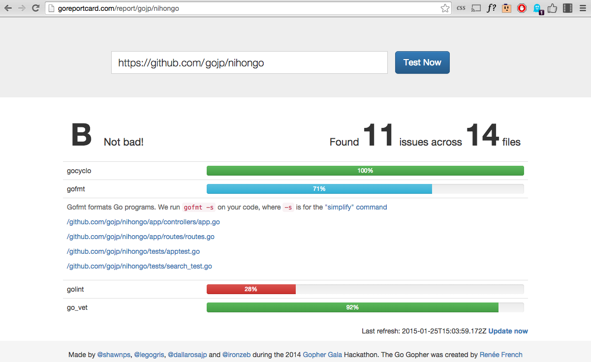 Screenshot of Go Report Card in action