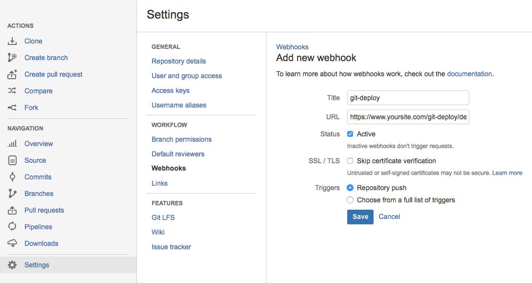 Example screenshot showing Bitbucket webhook settings