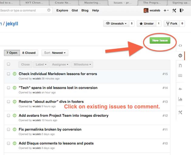 Captura de tela do rastreador de problemas do GitHub, com uma seta apontando para o botão para contribuir com uma nova questão no canto superior direito.
