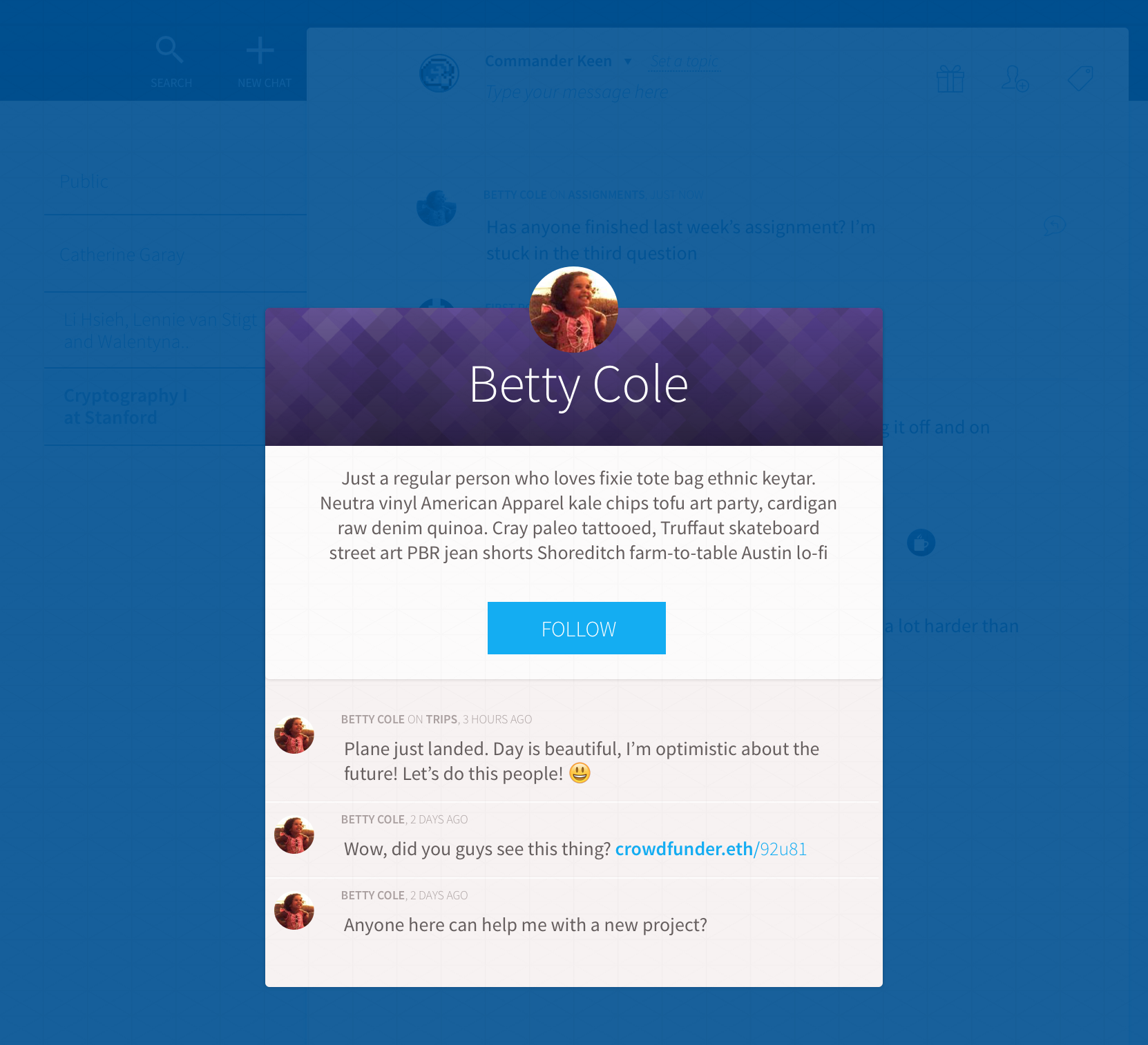 Chat application, profile view