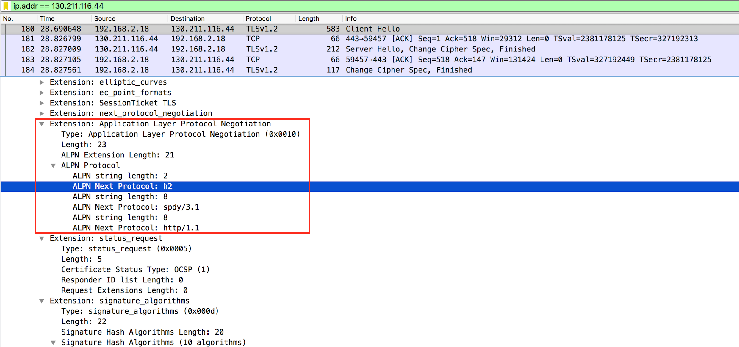 Detail on Client Hello message and which protocols can be used and in which order (h2, spdy, http/1.1)