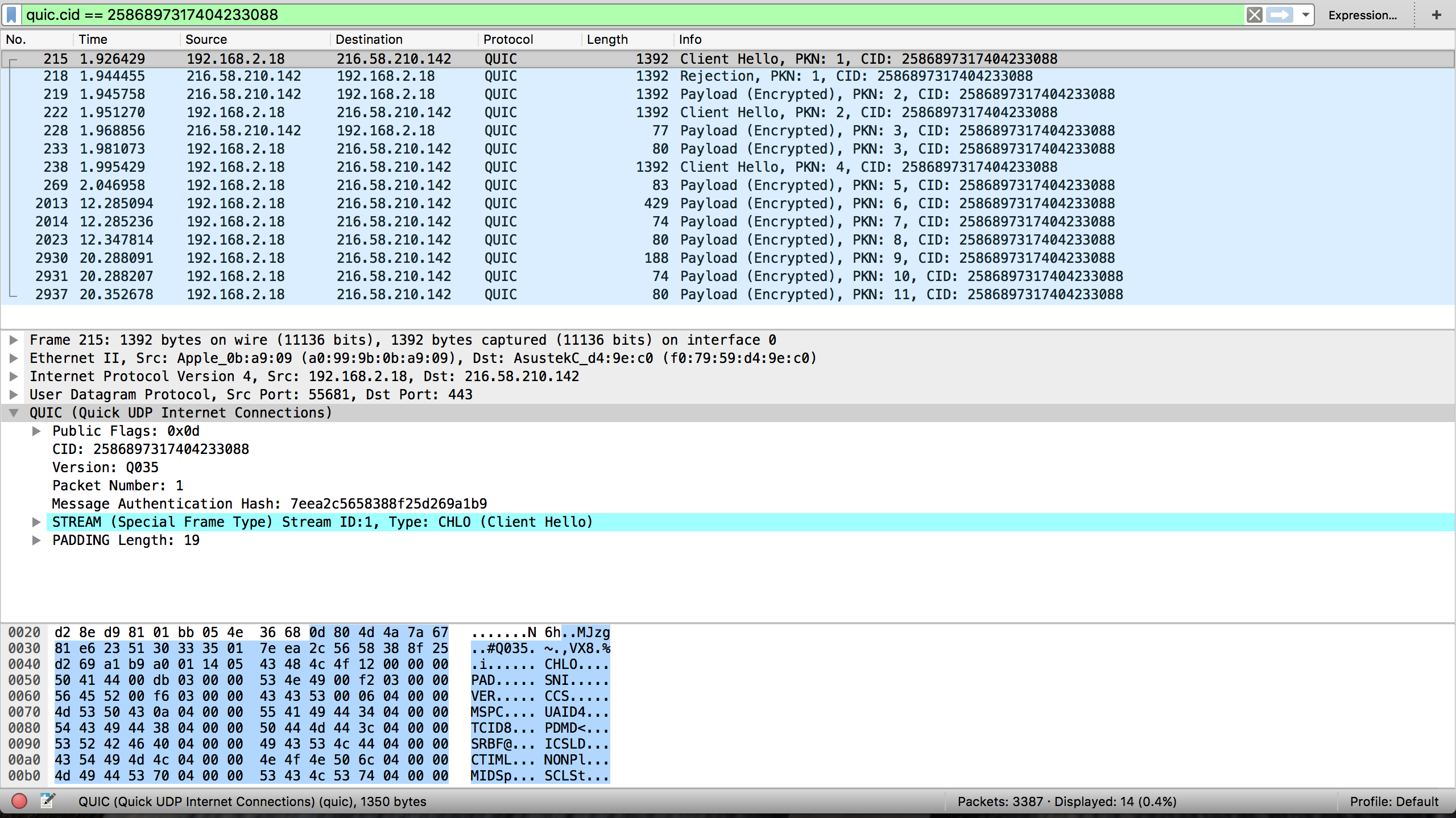 Wiereshark screenshot that shows QUIC packets