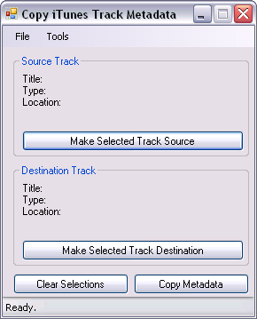 CopyTrackMetadata main window