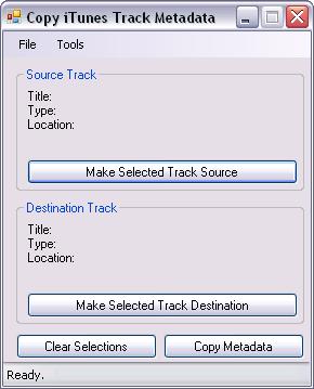 CopyTrackMetadata main window