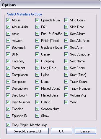 CopyTrackMetadata options dialog