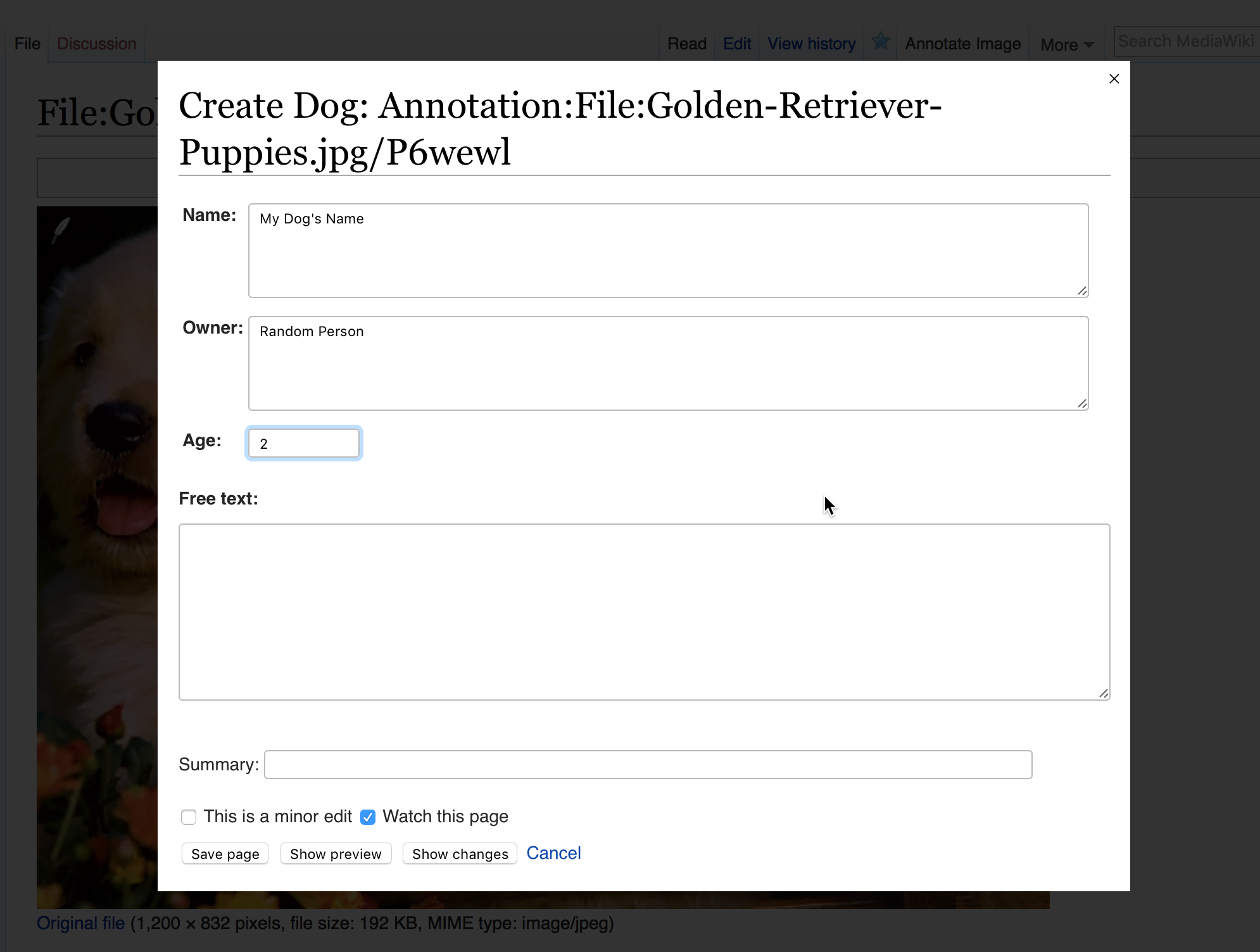 Enter Information in PageForms