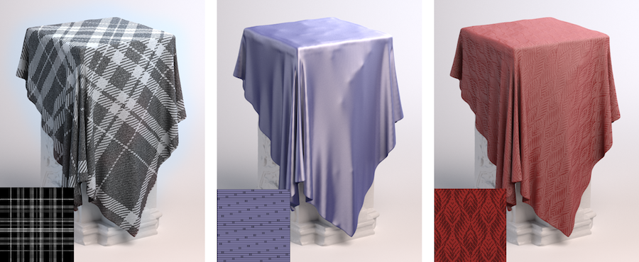 3 pillars with different types of cloth rendered using thunderLoom in vray/3dsMax