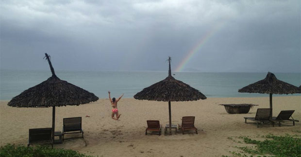 a rainbown on the beach in Costa Rica