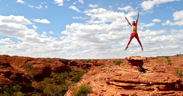 Traveler Jumping in Australia