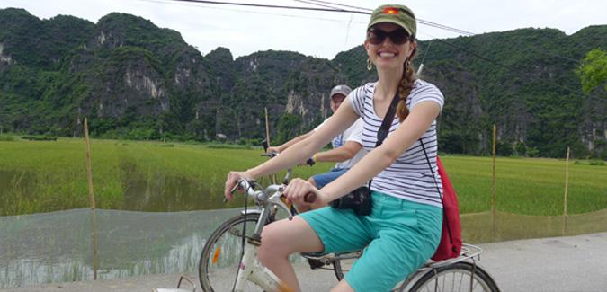 English teacher biking in Vietnam