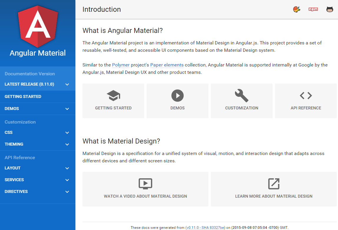 Angular Material docs website