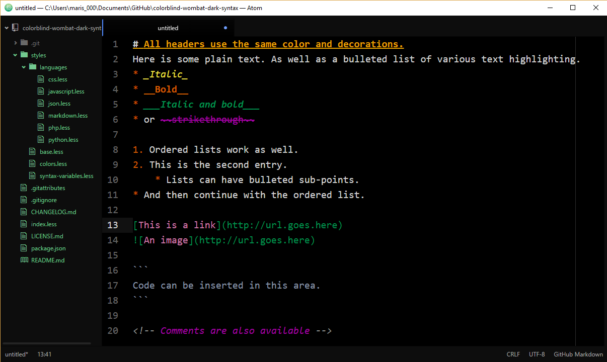 Colorblind Wombat Dark Syntax theme Markdown screenshot