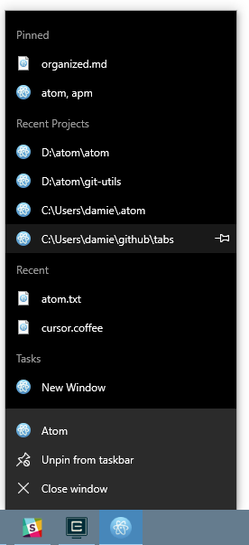 Screenshot of Atom's taskbar menu