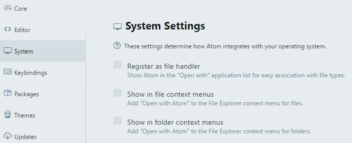 Screenshot of new System Settings for Windows