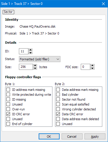 Screenshot showing sector properties