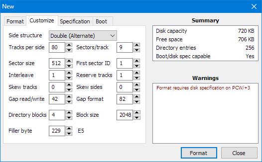 Screenshot of advanced formatter