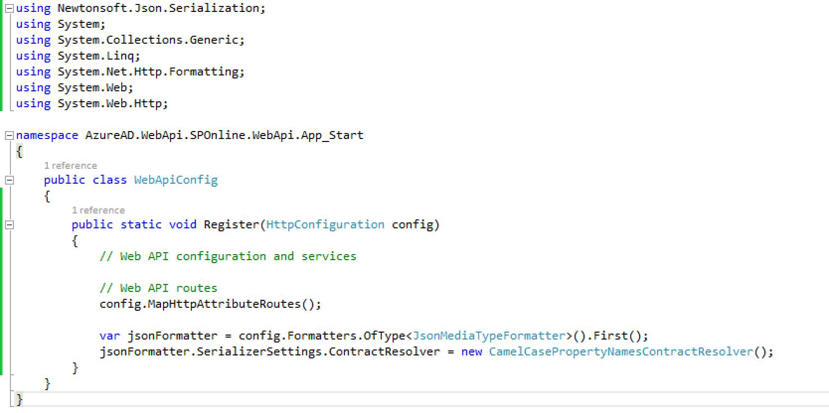 WebApiConfig code