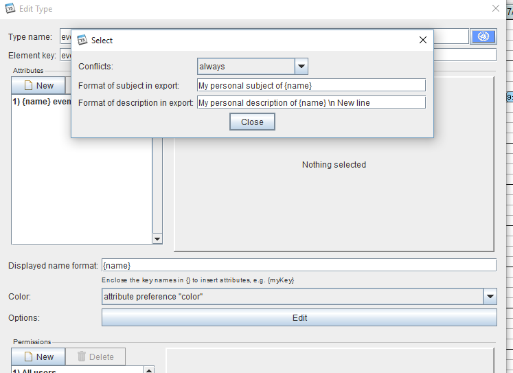 ical export