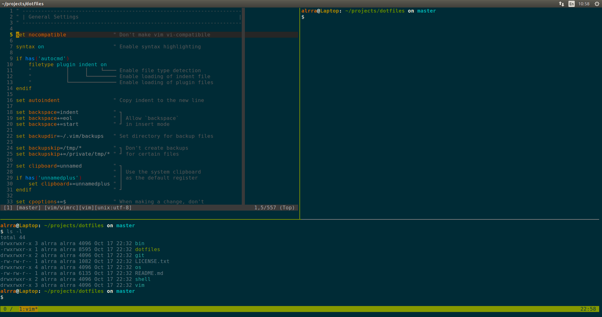 tmux and vim on Ubuntu