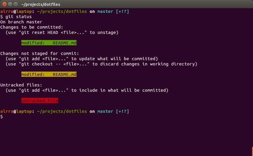 Output for Git status on Ubuntu
