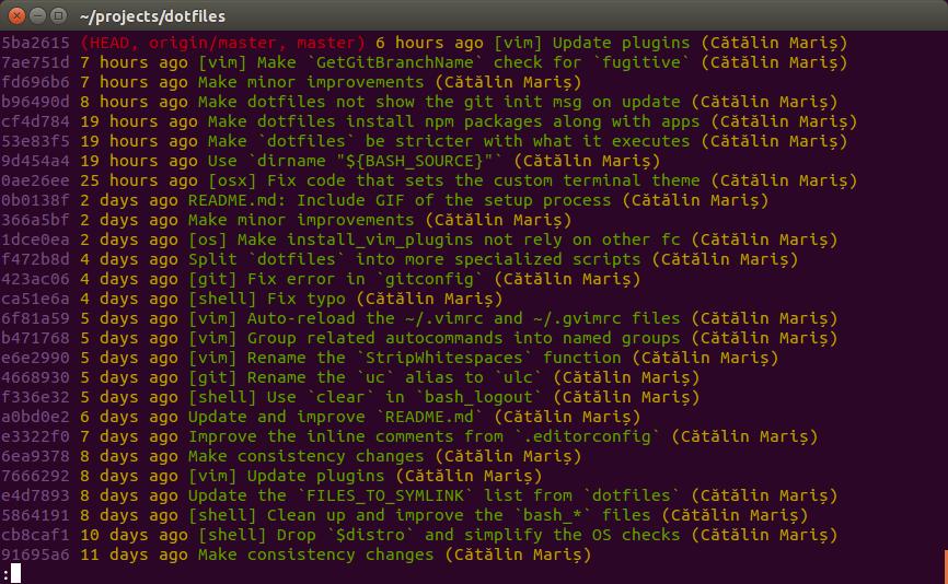 Output for Git log on OS X