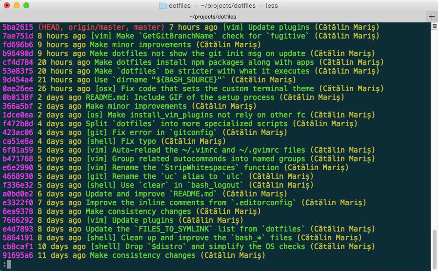 Output for Git status on OS X