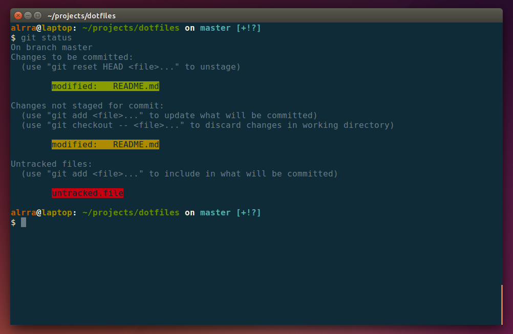 Output for Git status on Ubuntu