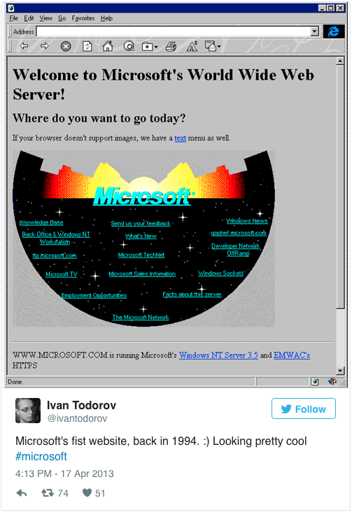 Microsoft's first website