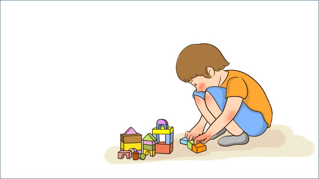 插画:小男孩蹲在地上玩积木