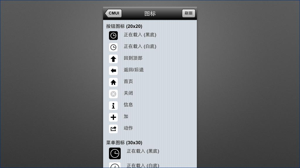 CMUI demo 页面截图