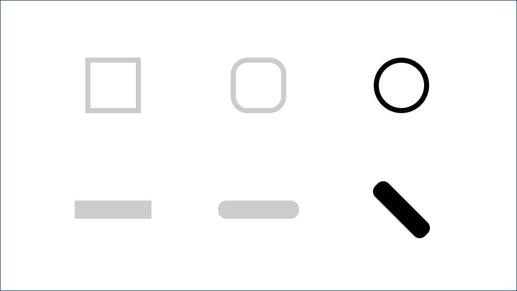 线段、圆头线段、斜 45° 的圆头线段