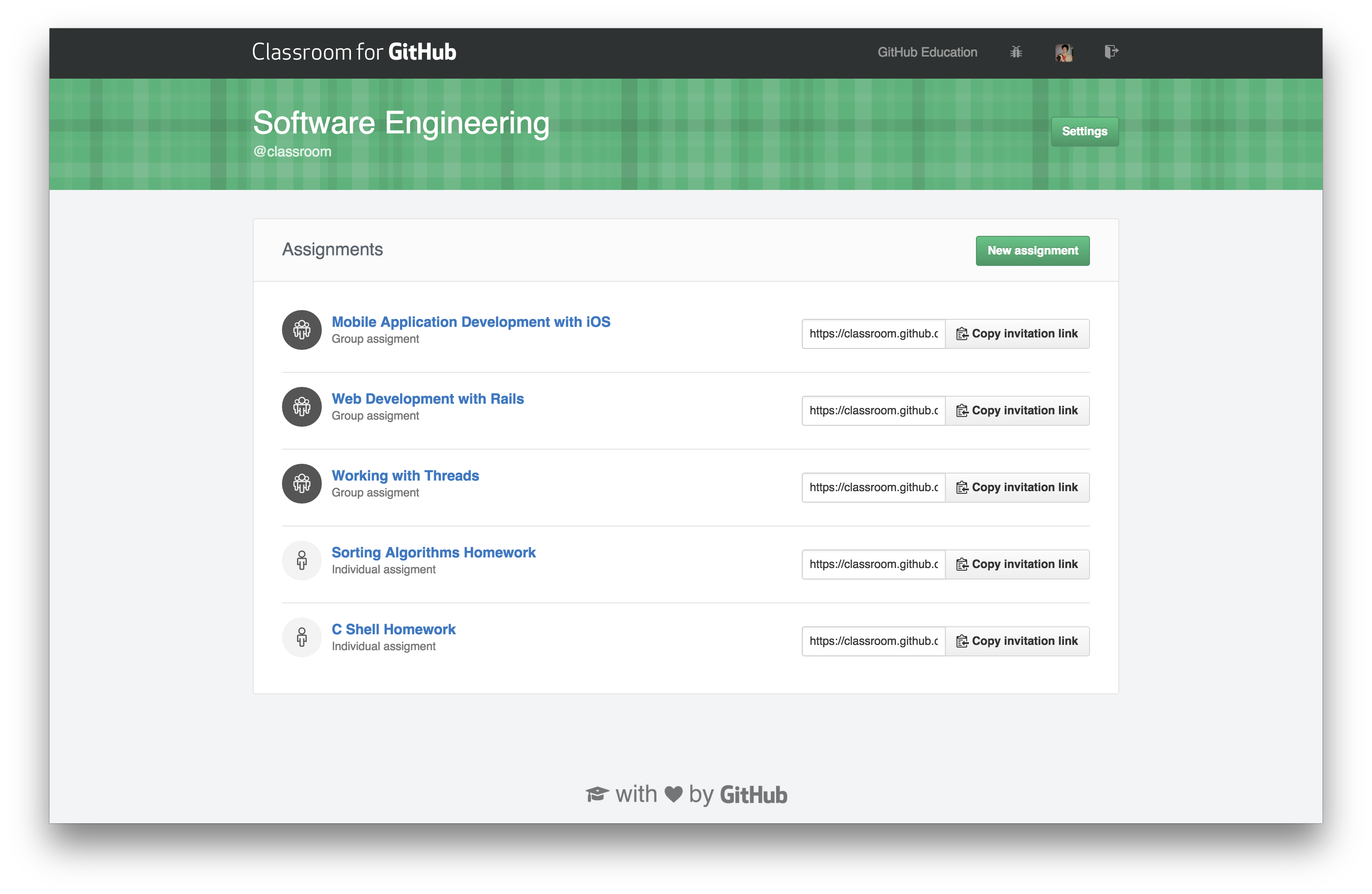 Classroom for GitHub screenshot