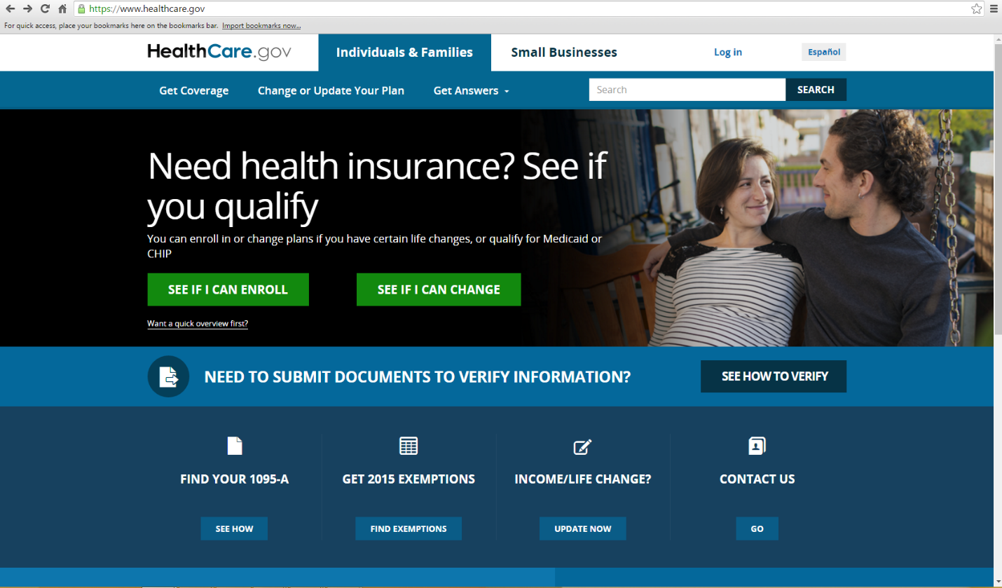 Screenshot of HealthCare.gov