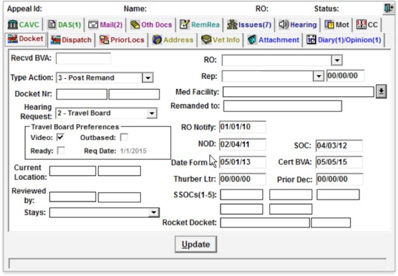 Screenshot of the previous case management system