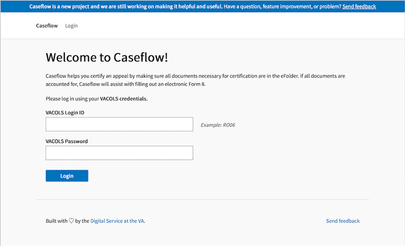 A screenshot from Caseflow