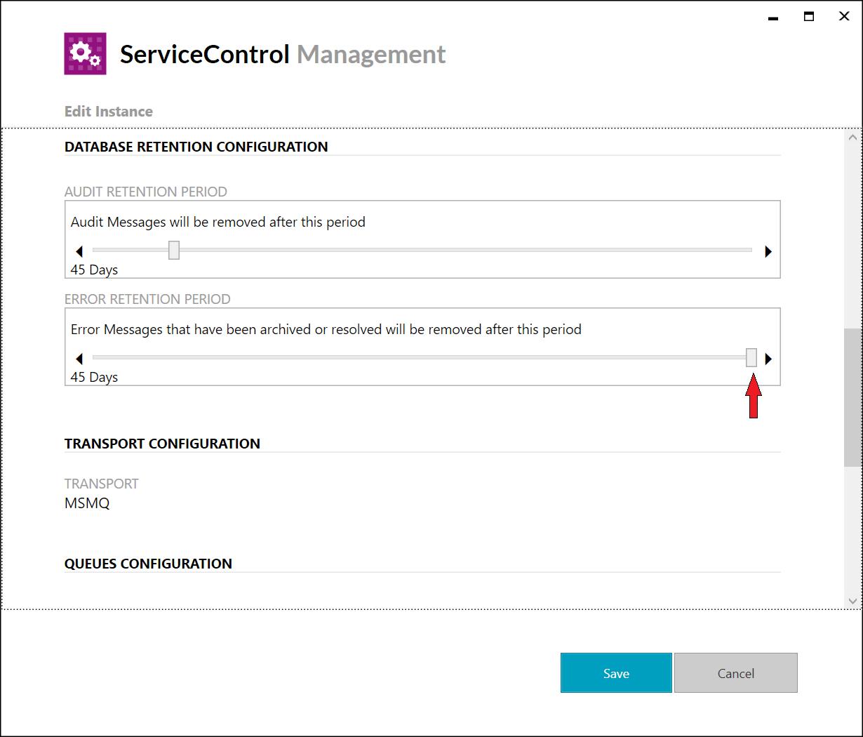 ServiceControl Management Utility - Max Error Retention