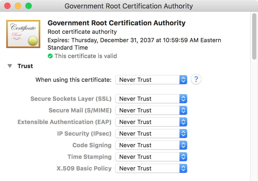 A certificate authority certificate