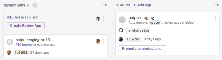 Each Review App corresponds to one pull request