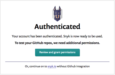 Interim screen between authenticating with GitHub and requesting repository access
