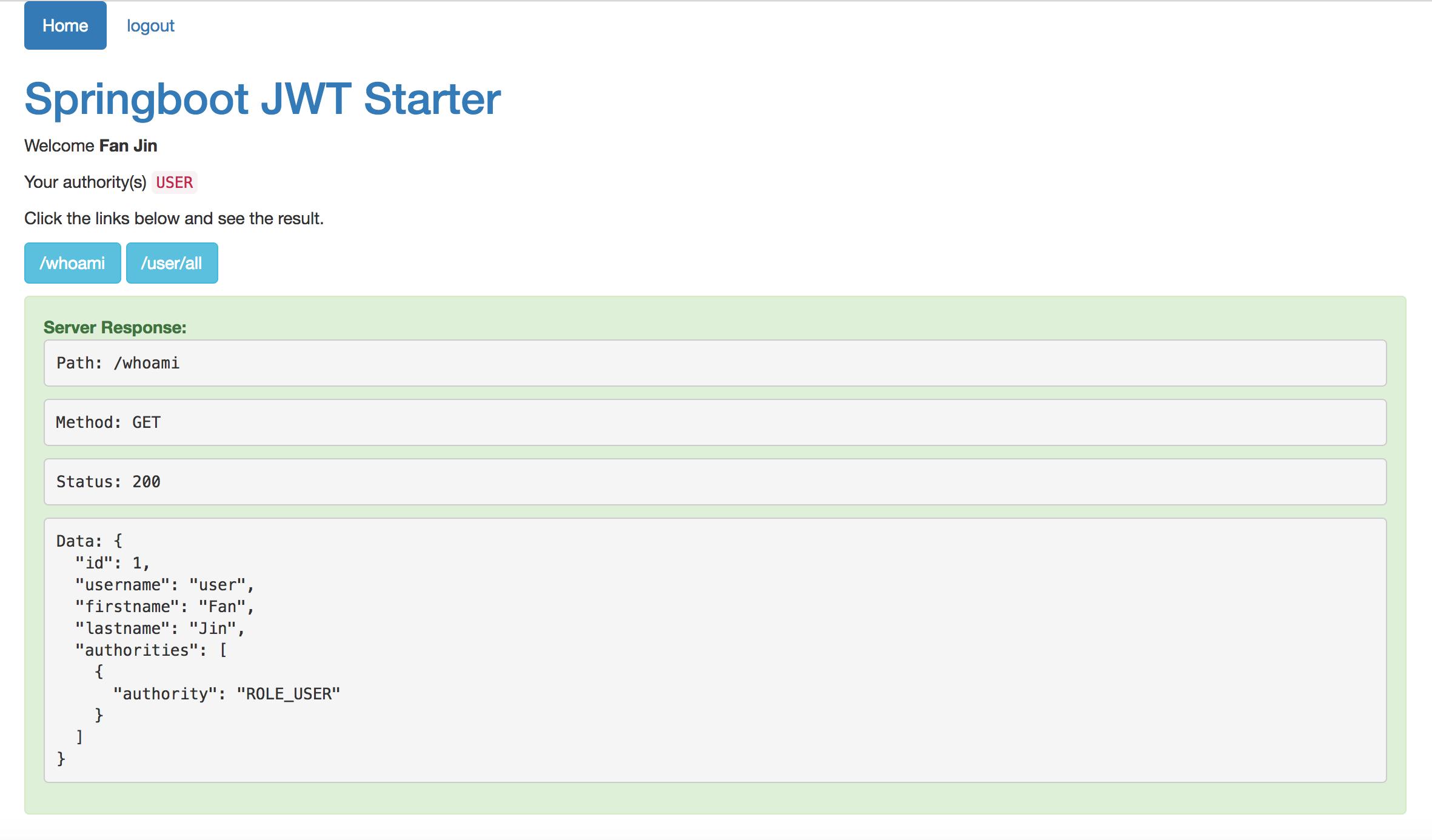 Springboot JWT Starter