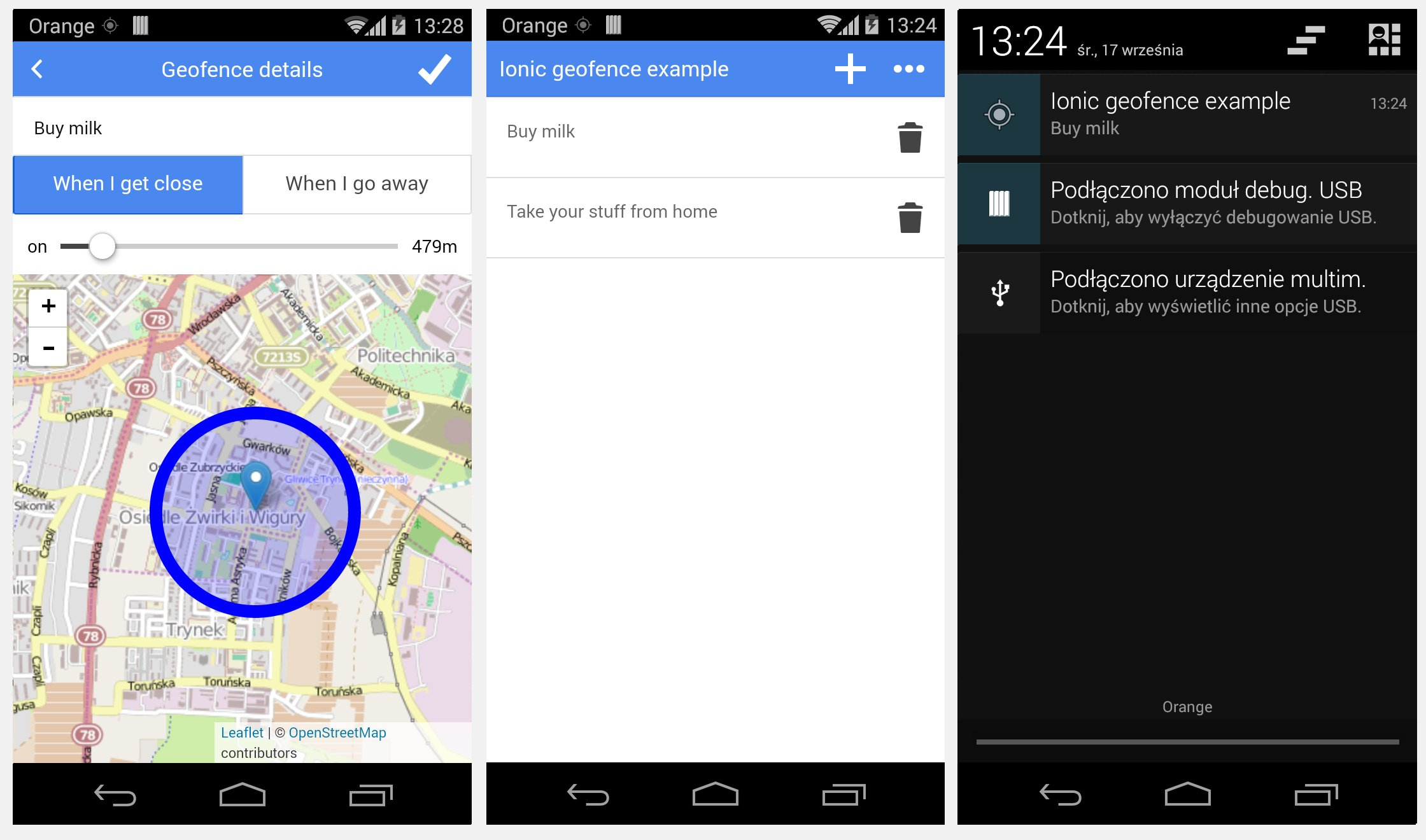 Ionic geofence application
