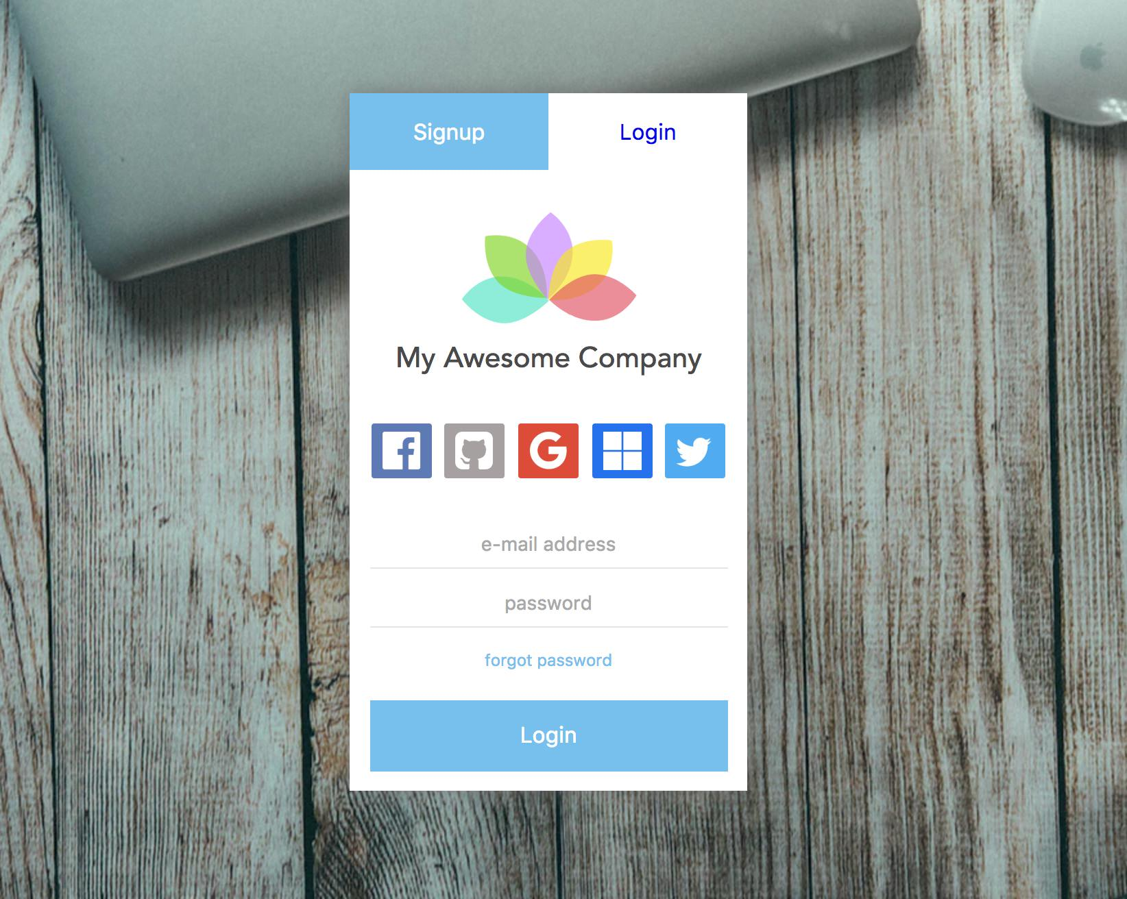 auth-component example