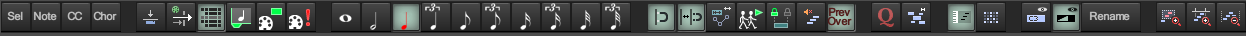 MIDI编辑器的主工具栏