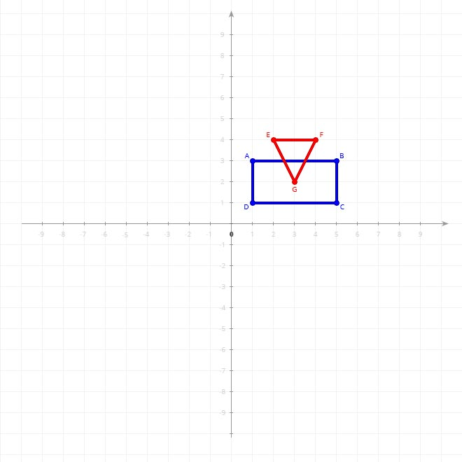 Rectangle ABCD and triangle EFG on 2D xy-plane
